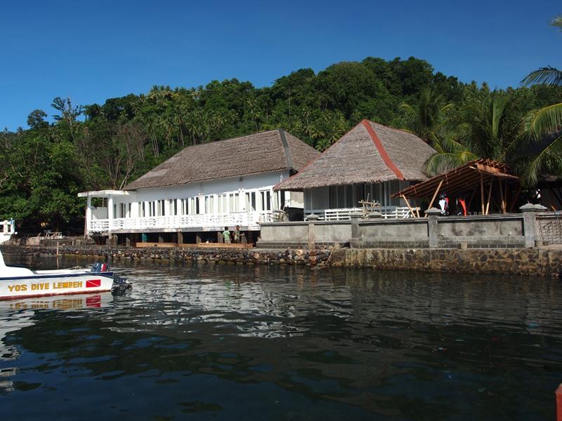 Yos Dive Lembeh Eco Beach Resort, next to the black volcanic sand beach.